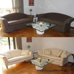 Πως είναι χωρίς και πως με τα καλύμματα 2 διαφορετικοί καναπέδες.