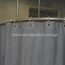 Κουρτίνες σε στρογγυλά δοκιμαστήρια στα Notos Galleries με τρουκ και κρίκους.