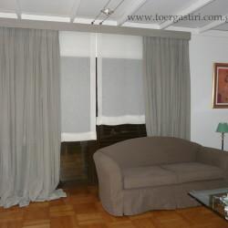 Ολοκληρωμένη σύνθεση ρόμαν, κουρτίνες, κάλυμμα κορνίζας, κάλυμμα καναπέ.