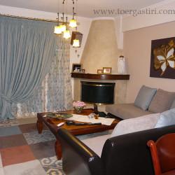 Σύνθεση κουρτίνας με μονόχρωμη εξωτερική, μέσα κεντημένη οργάτζα, χαλί brink & campman και καναπές με δερματίνη και 2 χρώματα σενίλ ύφασμα.