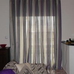 Κουρτίνα σαλονιού με ριγες και μαλλί στην ύφανση