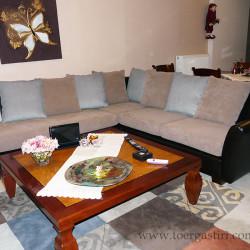 Καναπές με δερματίνη, καφέ και μπλες αδιάβροχο σουέτ, που συνοδεύται με χαλί Brink & Campman