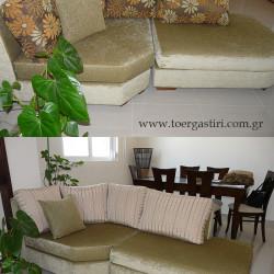 Μεταμόρφωση ενός καναπέ απλά αλλάζοντας το σχέδιο των μαξιλαριών πλάτης.