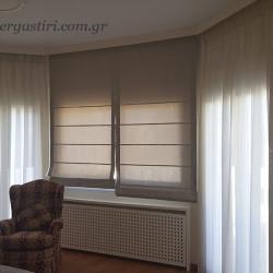 Κουρτίνες και ρόμαν σε παράθυρα κρεβατοκαμαρας bay